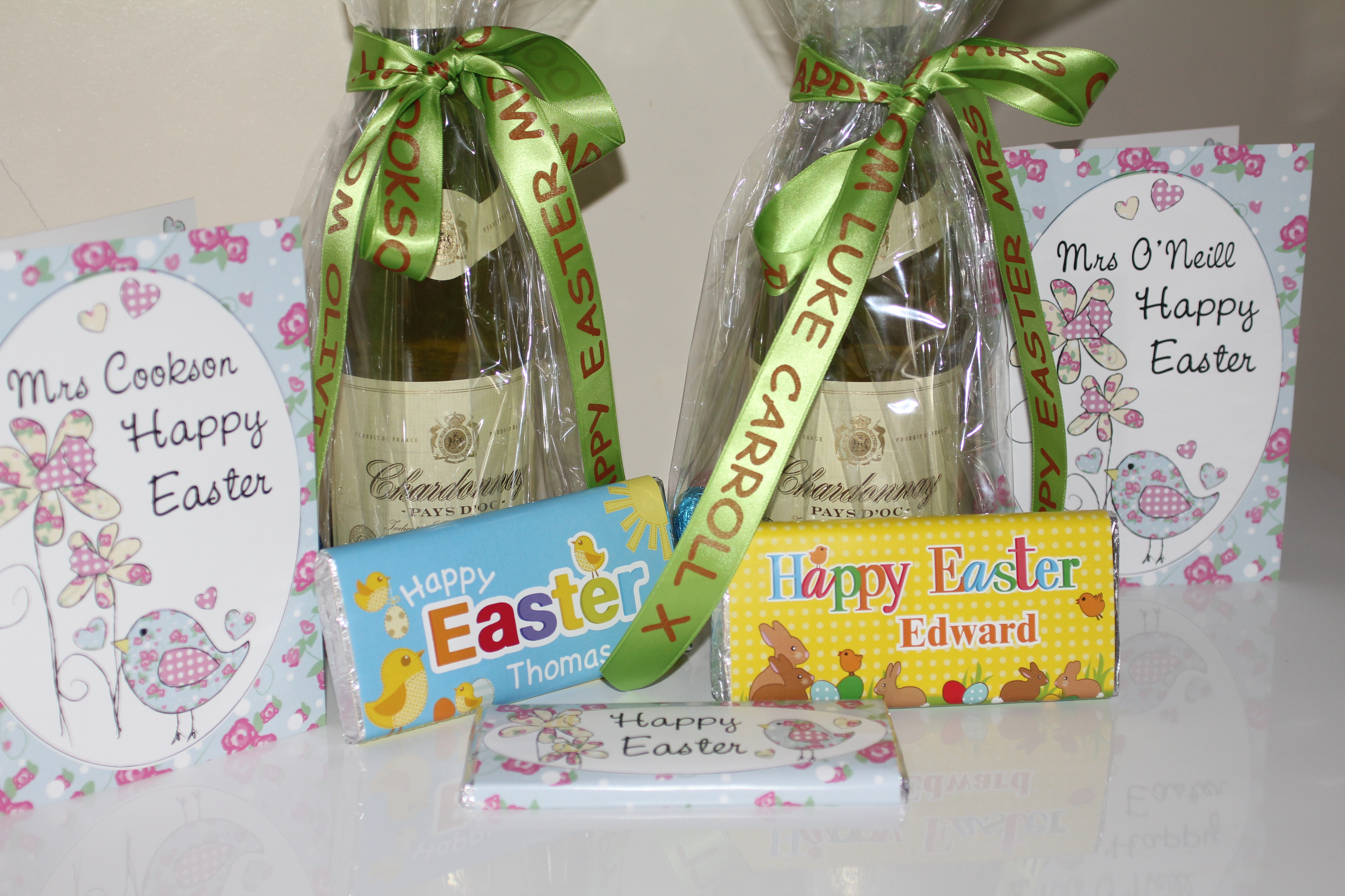 Personalised easter ribbons party sashes galore blog wish your family friends a happy easter with beautiful personalised ribbons olivia luke are very excited about giving their easter gifts to teachers negle Choice Image